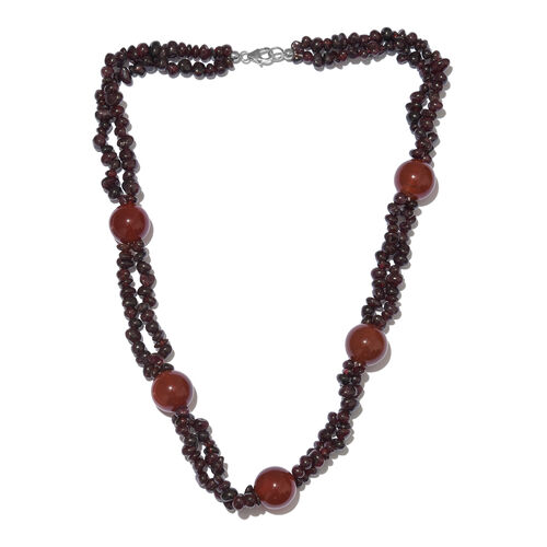 Rhodolite Garnet and Red Onyx Beads Two Layer Necklace (Size 20) with Lobster Lock in Platinum Overl