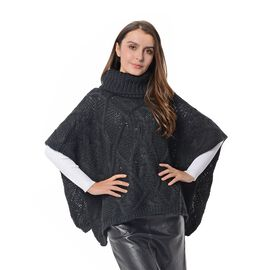 Wave Pattern Poncho with High Neck (Size 90x48x33 Cm) Black Colour