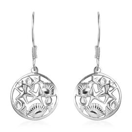Platinum Overlay Sterling Silver Sea-shell and Strafish Hook Earrings