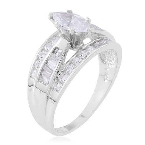 ELANZA AAA Simulated Diamond (Mrq) Ring in Rhodium Plated Sterling Silver, Silver wt 6.02 Gms.