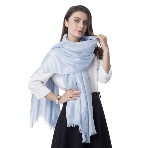 Italian Designer Inspired- Shining Turquoise Blue and Silver Colour Shawl (Size 204x100 Cm)