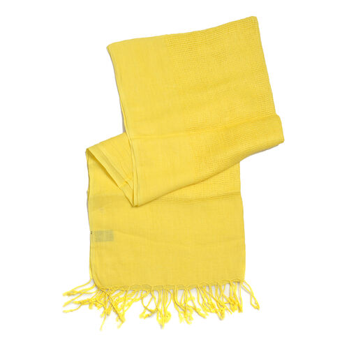 Luxurious Super Soft 100% Linen Handloom Woven Natural Dyed Yellow Colour Shawl (Size 180x70 Cm)