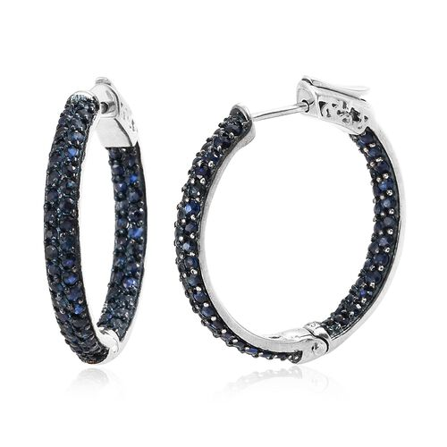 Kanchanaburi Blue Sapphire (Rnd) Hoop Earrings (with Clasp Lock) in Blue and Platinum Overlay Sterli