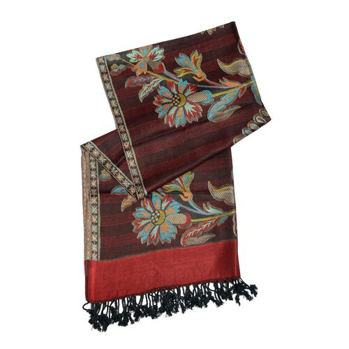Brown, Red and Multi Colour Scarf with Fringes (Size 180x70 Cm)