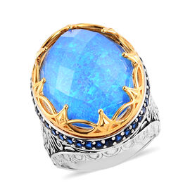 Sajen Silver Doublet Quartz and  Blue Sapphire Ring in Platinum Overlay Sterling Silver 17.32 Ct.
