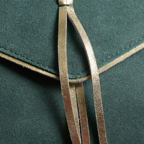 Genuine Leather Green Colour Crossbody Bag with Golden Trims and Shoulder Strap (Size 28x21.5x7.5 Cm)