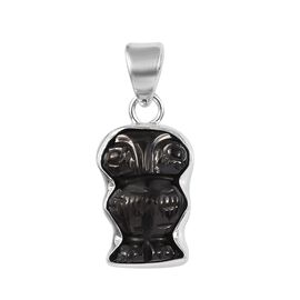 6.31 Ct Shungite Owl Pendant in Sterling Silver