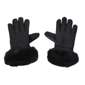 100% Genuine Leather Gloves with Black Faux Fur Around Wrist (Size 9x23 Cm) - Black