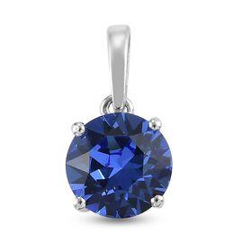 J Francis Crystal from Swarovski - Sapphire Swarovski Crystal Pendant in Platinum Overlay Sterling S