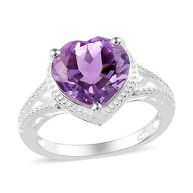 Rose De France Amethyst (Hrt 10 mm) Ring (Size Q) in Sterling Silver 3.000  Ct.