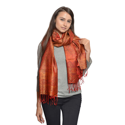 Silk Mark - 100% Super Fine Silk Orange, Green and Multi Colour Floral and Paisley Pattern Flame Red Colour Jacquard Jamawar Scarf with Fringes (Size 180x70 Cm) (Weight 125 - 140 Gms)