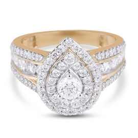 NY Close Out 14K Yellow Gold Diamond (I1-I2/G-H) Cluster Ring 1.50 Ct, Gold wt. 5.30 Gms Size N FREE