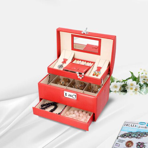 Grace Collection - Three Layer Lizard Skin Pattern Anti-Tarnish Jewellery Box with 3D Flower Handle,