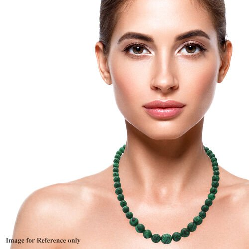 Malachite Beaded Necklace (Size 18) in Rhodium Overlay Sterling Silver 240.00 Ct.