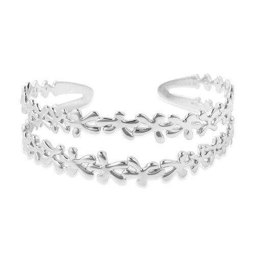 LucyQ - Splash Cuff Bangle (Size 7.5) in Rhodium Overlay Sterling Silver, Silver wt. 27.85 Gms