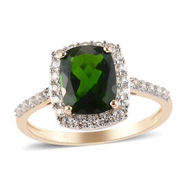 9K Yellow Gold Russian Diopside and Natural Cambodian Zircon Ring 2.83 Ct.