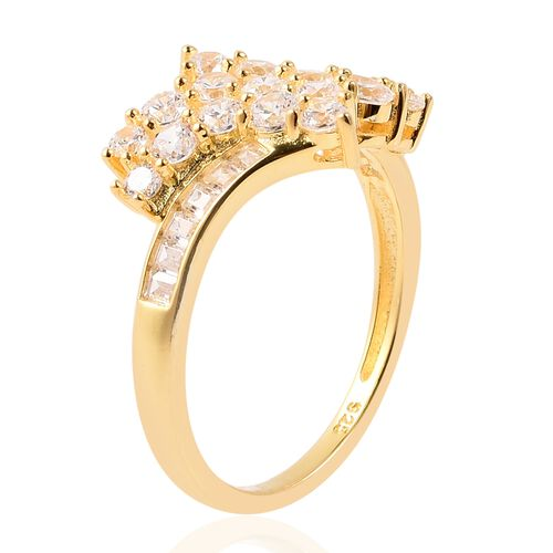 ELANZA Simulated Diamond (Rnd and Bgt) Bypass Cluster Ring in Yellow Gold Plated Sterling Silver