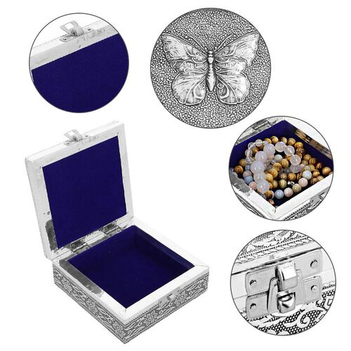 3D Embossed Collection Handcrafted Butterfly Oxidised Jewellery Box (Size 12.7x12.7cm)