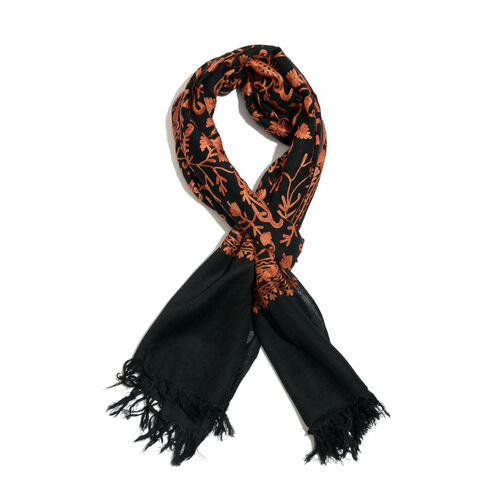 Limited Available - 100% Merino Wool Tan Colour Embroidered Black Colour Scarf with Fringes (Size 20