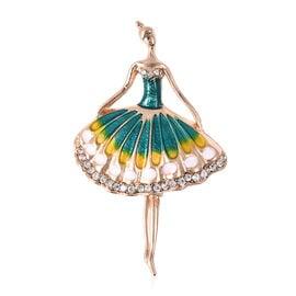 White Austrian Crystal Ballerina Enamelled Brooch in Gold Tone