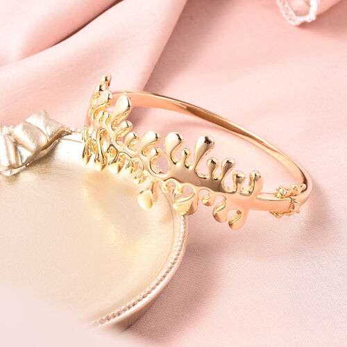 LucyQ Splash Bangle (Size 7.5) in Yellow Gold Overlay Sterling Silver, Silver wt 39.60 Gms