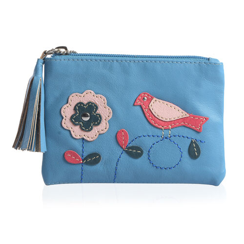 100% Genuine Leather RFID Blocker Blue, Red and Multi Colour Bird with Flower Pattern Coin and Card Wallet (Size 13X9 Cm)