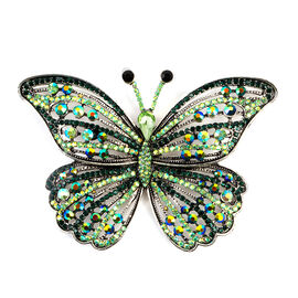 Multi Colour Austrian Crystal (Rnd), Simulated Emerald Butterfly Brooch in Silver Tone