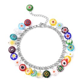 Multi Murano Style Glass Friendship Floral Bracelet in Stainless Steel 7.5 with 1.5 inch Extender