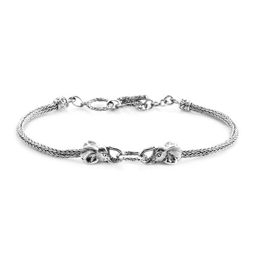 Royal Bali Collection - Sterling Silver Elephant Head Tulang Naga Toggle Bar Bracelet (Size 7.5 with