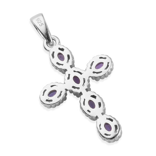 AAA Tanzanite Cross Pendant in Platinum Overlay Sterling Silver 1.25 Ct.