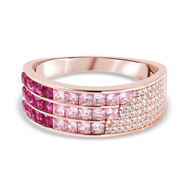 Lustro Stella - Simulated Pink Sapphire, Simulated Ruby and Simulated Diamond Multi Row Ring in Plat