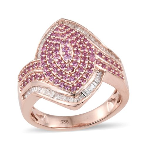 Designer Inspired - Pink Sapphire (Rnd), Diamond Ring in Rose Gold Overlay Sterling Silver 2.000 Ct.Diamond Wt 0.25 Cts