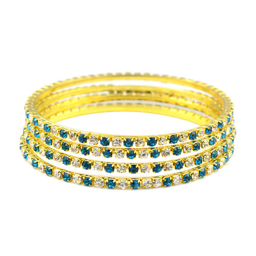 4 Piece Set - Firozi and White Austrian Crystal Bangle (Size 8.25) in Gold Tone