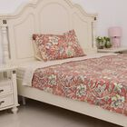 3 Pcs Cream Colour Fitted Sheet , Duvet Cover and 1 Pillow Case Cream, Red and Multi Colour