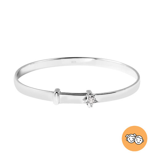 Natural Cambodian Zircon Adjustable Star Bangle in Rhodium Overlay Sterling Silver (Size 5), Silver