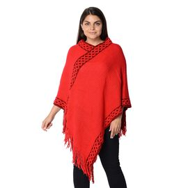 Knit Flower Pattern Bordure Poncho with Tassels (Size 84x102+13 Cm) - Red