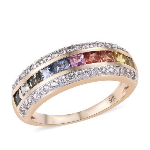 9K Yellow Gold AAA Rainbow Sapphire (Princess), Natural Cambodian Zircon  Ring 2.000 Ct.Gold Wt 3.00