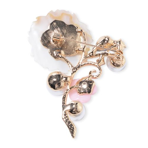 Simulated Pearl (Rnd), Natural Color Shell, White Austrian Crystal, and Simulated Blue Sapphire Flower Bouquet Brooch in Yellow Plated