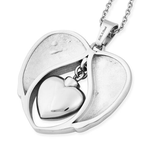 White Austrian Crystal Nan Angel Wing Heart Memorial Urn Pendant with Chain (Size 20) in Stainless Steel