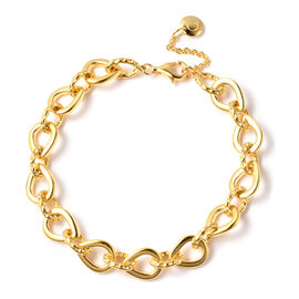 RACHEL GALLEY Yellow Gold Overlay Sterling Silver Love Link Bracelet (Size 7.5 with 1 inch Extender)