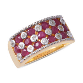 2.19 Ct Burmese Ruby and Zircon Cluster Ring in Gold Plated Silver 6.20 Grams