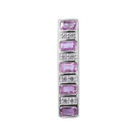 1.73 Carat AAA Pink Sapphire and Cambodian Zircon Bar Pendant in 9K White Gold