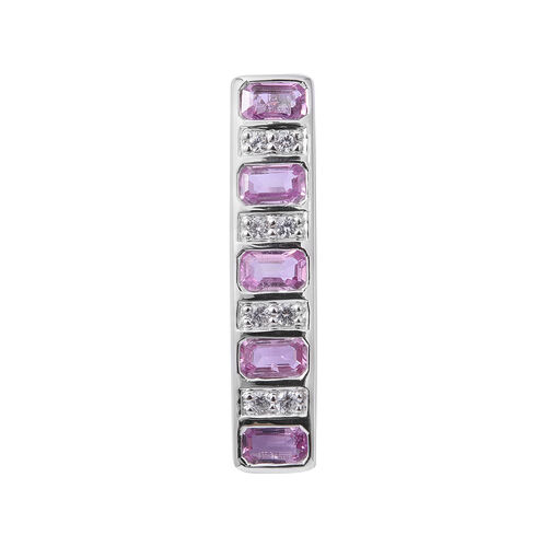 Extremely Rare Cut-9K White Gold AAA Pink Sapphire (Oct), Natural White Cambodian Zircon  Pendant 1.730 Ct