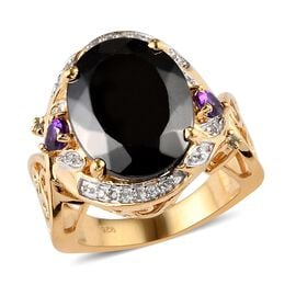6.50 Ct Elite Shungite and Multi Gemstone Halo Design Ring in 14K Gold Plated Silver 6.30 Grams