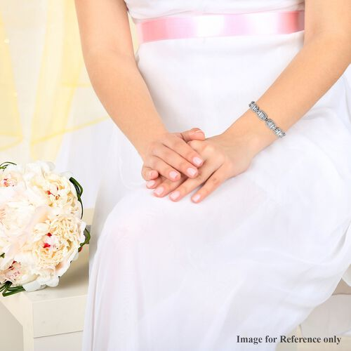 J Francis Platinum Overlay Sterling Silver Bracelet (Size 7) Made with SWAROVSKI ZIRCONIA 15.37 Ct, Silver wt 22.00 Gms