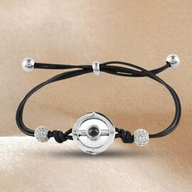 I Love You in Different Languages Projection Bracelet (Size 6-10)  with Simulated Diamond in Black C