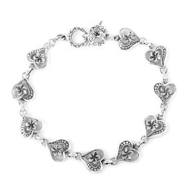 Royal Bali Collection Sterling Silver Heart Link Bracelet (Size 7.5 with Half inch Extender) with T Lock, Silver wt 8.95 Gms.