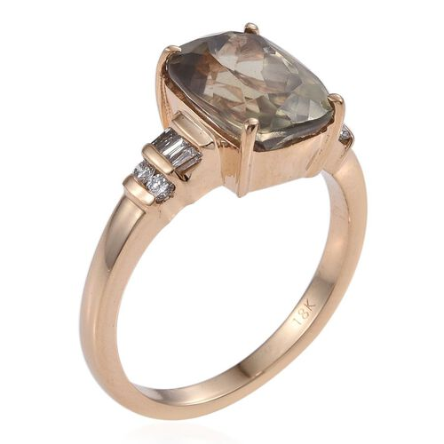 ILIANA 18K Y Gold Natural Turkizite (Cush 4.55 Ct), Diamond Ring 4.750 Ct.