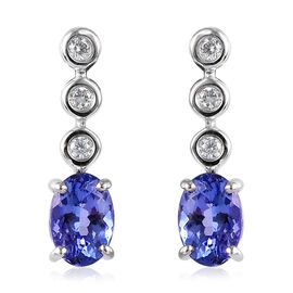 WEBEX-  9K White Gold AA Tanzanite (Ovl 0.90 Ct) Diamond Earrings (with Push Back) 1.00 Ct.