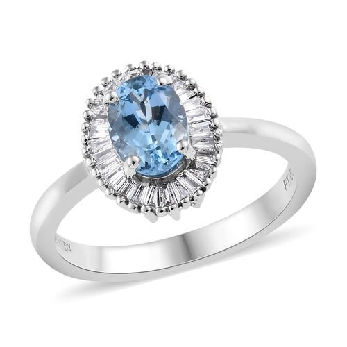 RHAPSODY 1 Carat AAAA Santa Maria Aquamarine and Diamond Halo Ring in 950 Platinum
